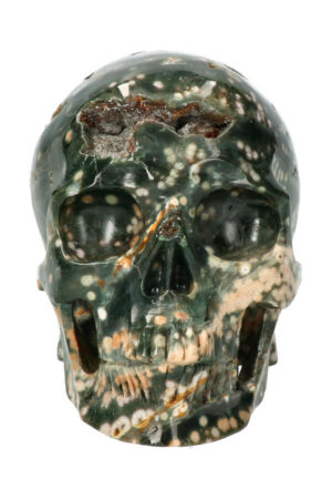 Oceaan Jaspis exclusieve realistische kristallen schedel, 12.5 cm, 1.12 kg