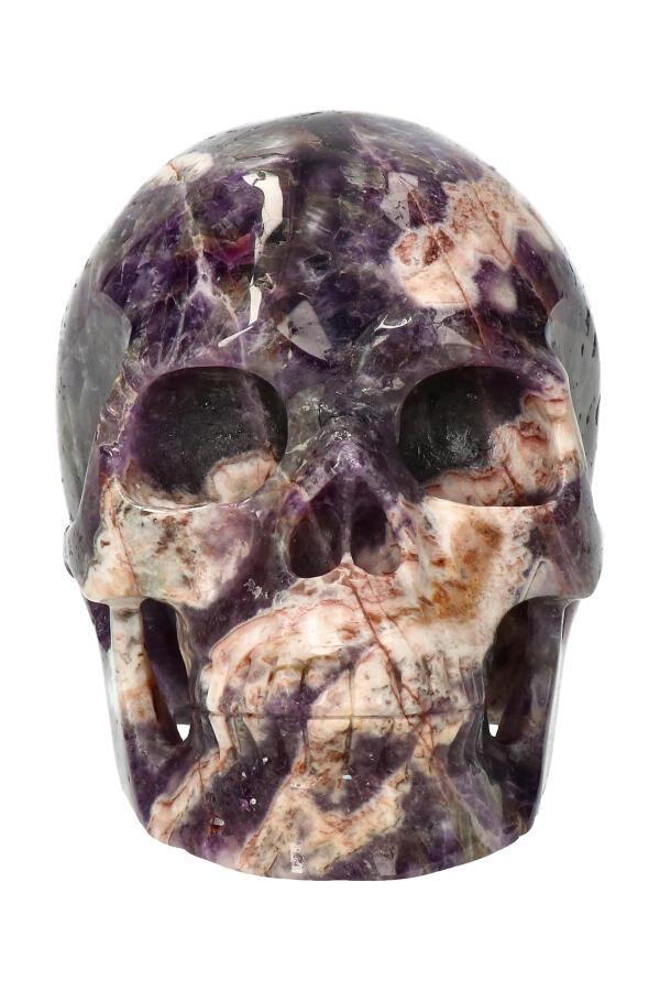 Chevron Amethist exclusieve realistische kristallen schedel, 12.5 cm, 1.3 kg