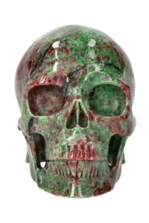 Rode en groene Granaat exclusieve realistische kristallen schedel, 12.5 cm, 1.6 kg