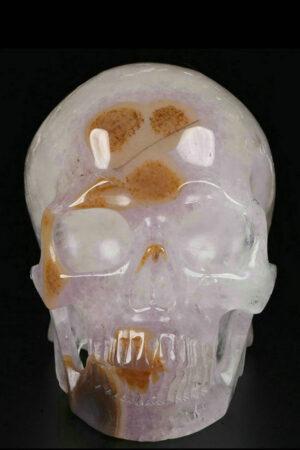 Carneool, Amethist en Bergkristal exclusieve realistische kristallen schedel, 12.5 cm, 1.22 kg