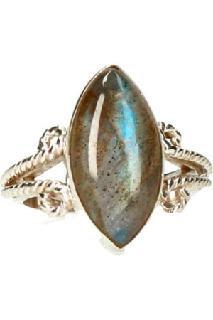 Labradoriet zilveren ring 925 sterling steen circa 1 cm