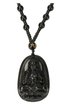 Obsidiaan Amitabha Boeddha ketting 4.5 cm