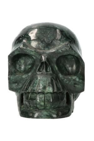 Serpentijn kristallen schedel 11.3 cm 989 gram